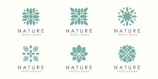 Conjunto de ícones e logotipo de ornamento de flor abstrata. vetor de modelo de design.