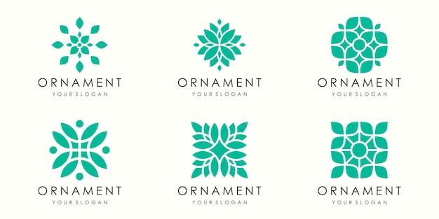 Conjunto de ícones e logotipo de ornamento de folha abstrata. vetor de modelo de design.