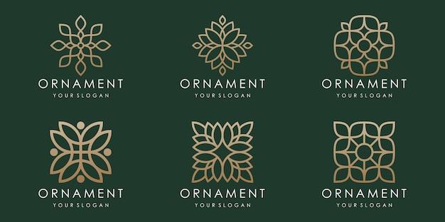 Conjunto de ícones e logotipo de ornamento floral abstrato. vetor de modelo de design.