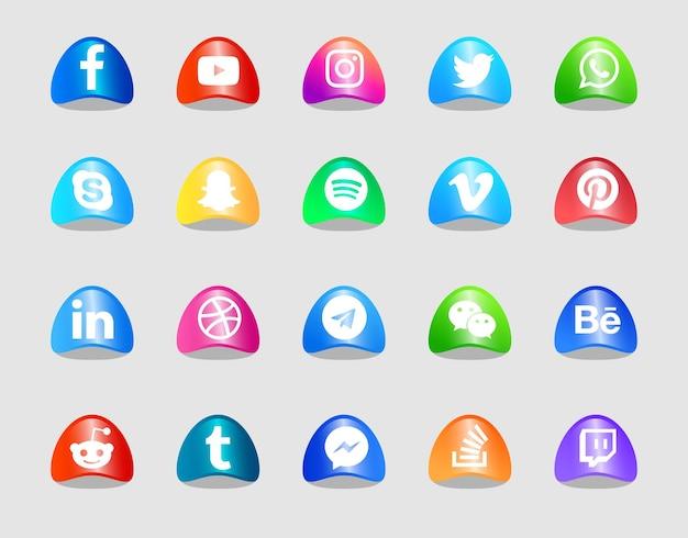 Conjunto de ícones e logotipos de mídia social moderna