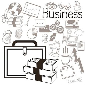 Conjunto de ícones e negócios