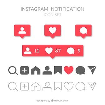 Conjunto de ícones e notificações do instagram plana