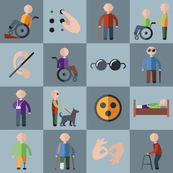 Conjunto de ícones e personagens desativados