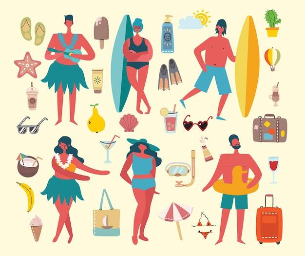 Conjunto de ícones e pessoas de verão de diferentes vetores no chiqueiro plano