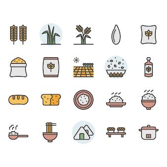 Conjunto de ícones e símbolos de arroz