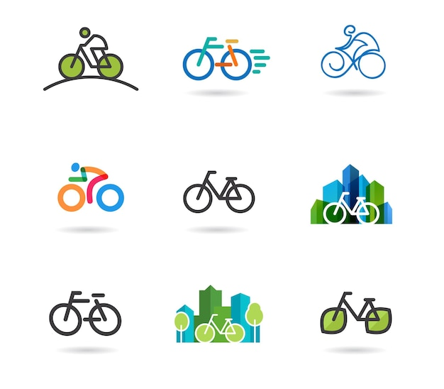 Conjunto de ícones e símbolos de bicicletas