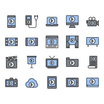Conjunto de ícones e símbolos de conteúdo de vídeo