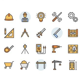 Conjunto de ícones e símbolos de engenharia