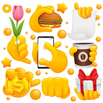 Conjunto de ícones e símbolos de mão emoji amarelo. flor, punho, café, moeda de ouro, sinais de caixa de presente.