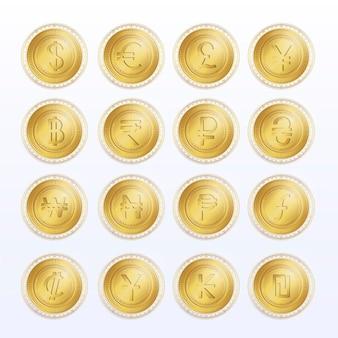 Conjunto de ícones e símbolos de moeda dolden dinheiro eletrônico criptomoeda moeda digital global