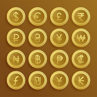 Conjunto de ícones e símbolos de moeda dolden