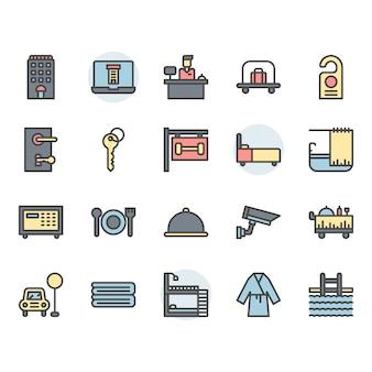 Conjunto de ícones e símbolos de serviço de hotel