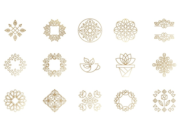 Conjunto de ícones e símbolos florais