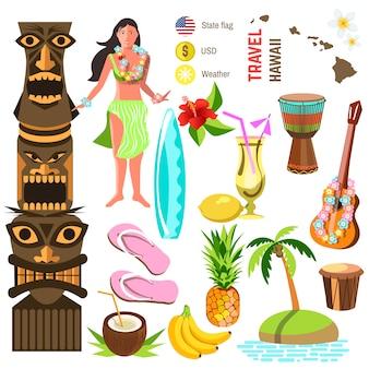 Conjunto de ícones e símbolos havaianos