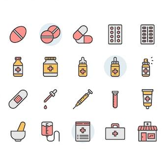 Conjunto de ícones e símbolos relacionados à medicina
