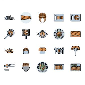 Conjunto de ícones e símbolos relacionados a salmão