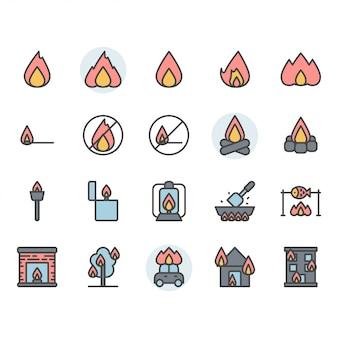 Conjunto de ícones e símbolos relacionados ao fogo