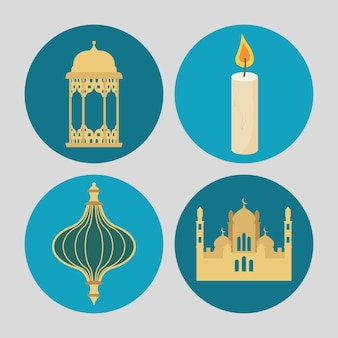 Conjunto de ícones eid mubarak