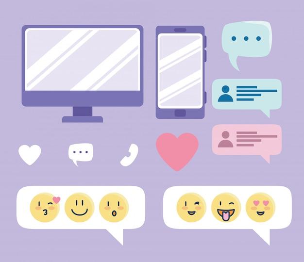 Conjunto de ícones, elementos de coleção de serviço de namoro online