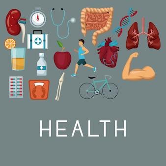 Conjunto de ícones elementos de saúde