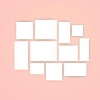 Conjunto de ícones em branco de papel de nota