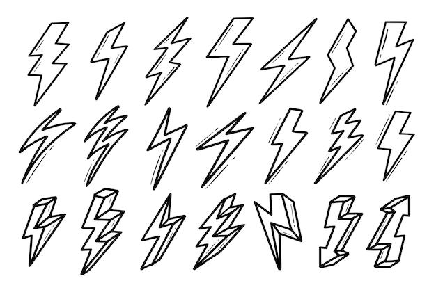 Conjunto de ícones em negrito de relâmpago elétrico