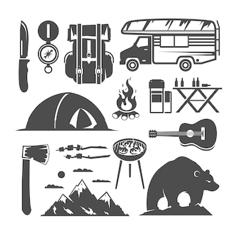 Conjunto de ícones em preto e branco sobre o tema camping