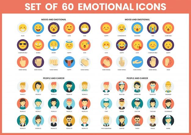 Conjunto de ícones emocionais para negócios