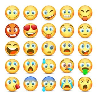 Conjunto de ícones emoji e triste.