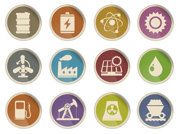 Conjunto de ícones, energia e indústria