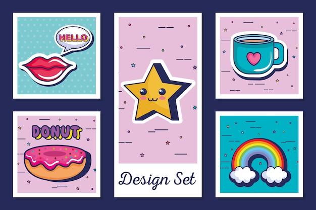 Conjunto de ícones estilo pop art