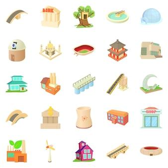 Conjunto de ícones estruturados, estilo cartoon