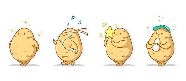 Conjunto de ícones expressivos e ícones expressivos de pacote de vegetais de batata