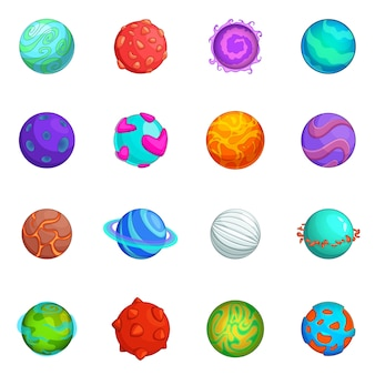 Conjunto de ícones fantásticos planetas