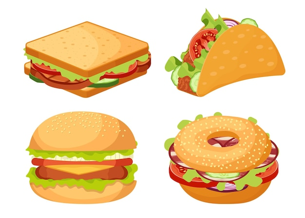 Conjunto de ícones fastfood, hambúrguer de junk food para viagem, sanduíche, lanche de tacos tex mex isolado no fundo branco