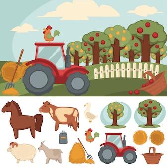 Conjunto de ícones fazenda e agricultura.