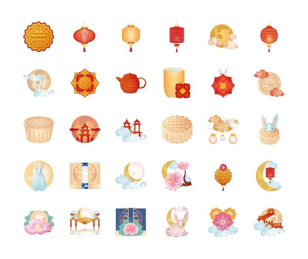 Conjunto de ícones festival do meio do outono ou festival da lua chinesa