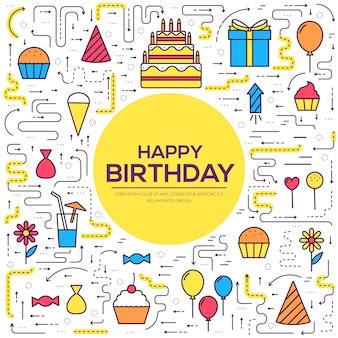 Conjunto de ícones festivos de feliz aniversário plana