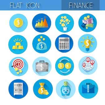 Conjunto de ícones financeiros coloridos coleção de finanças