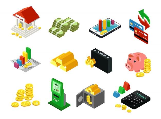 Conjunto de ícones financeiros de negócios isométricos