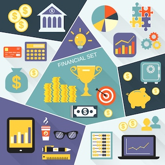 Conjunto de ícones financeiros plana