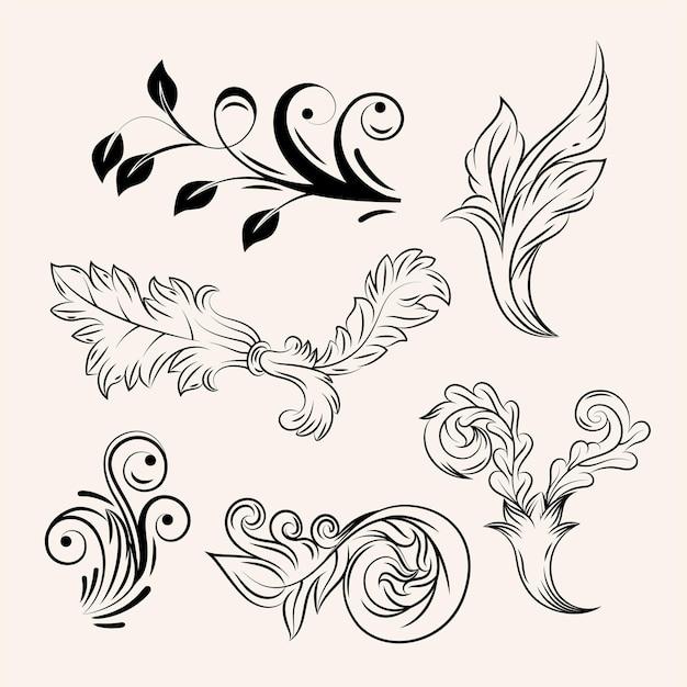 Conjunto de ícones florais vintage barroco