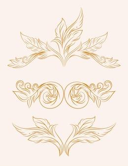 Conjunto de ícones florais vintage ouro barroco