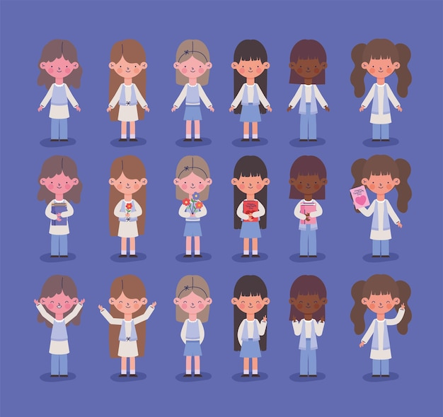 Conjunto de ícones fofos de garotas jovens