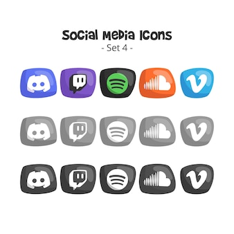 Conjunto de ícones fofos de mídia social 4