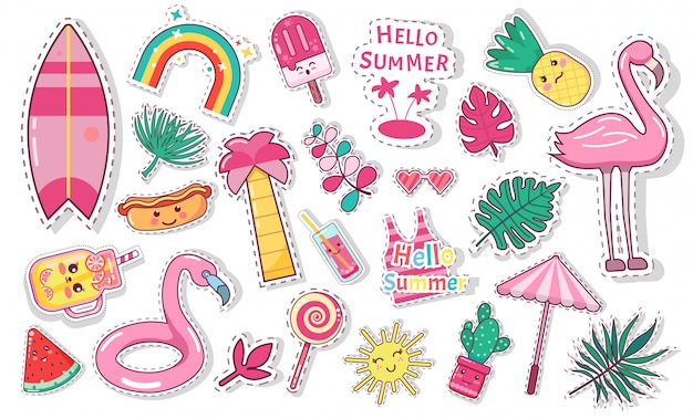 Conjunto de ícones fofos de verão