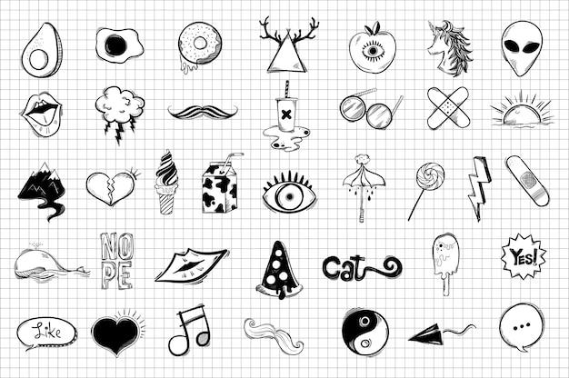 Conjunto de ícones fofos e legais