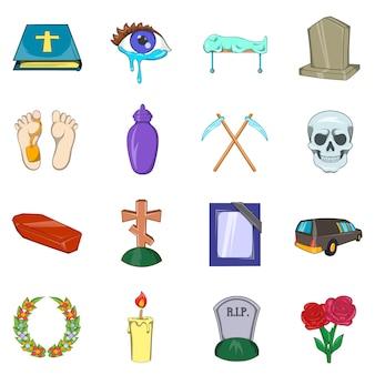 Conjunto de ícones fúnebres