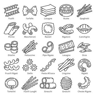 Conjunto de ícones fusilli, estilo de estrutura de tópicos