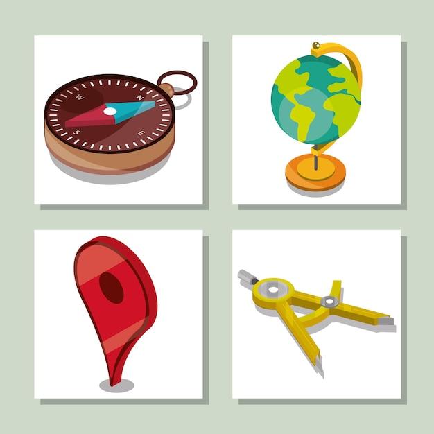 Conjunto de ícones geográficos